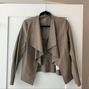 Zara Tan Faux Leather blazer Jacket